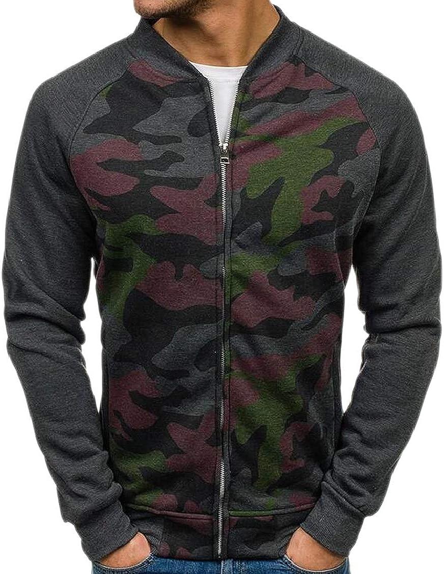 XQS Mens Patchwork Stand Collar Open Front Camo Printed Sweatshirts Full Zip Jacket