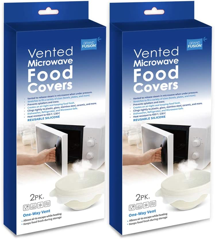 Reusable Vented Microwave Food Covers and Storage Wraps. BPA Free Cling Films Seal Around Ceramic and Plastic Dishes for Mess Free Heating and Reheating. 1 Way Vent Releases Steam, Keeps Food Fresh