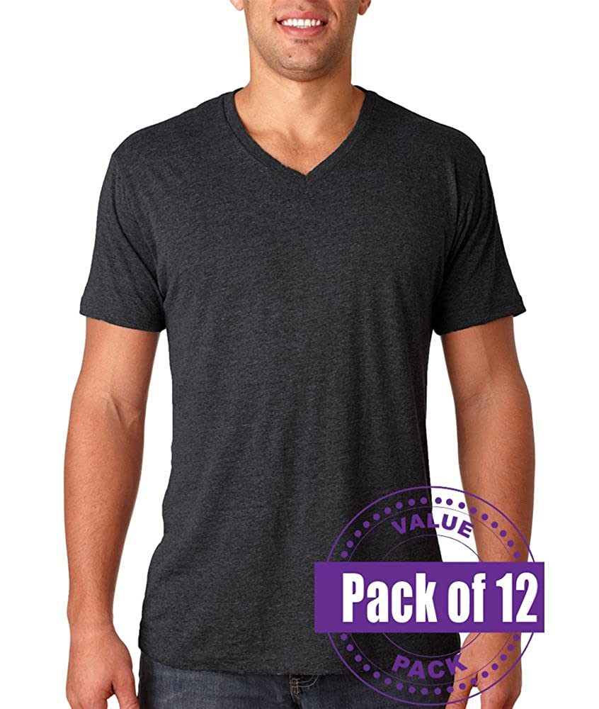 Next Level Mens Tri-Blend V-Neck 6040-Vintage Black 12 Pack