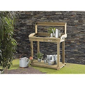 Amazon Com Cypress Wood Lotus Potting Bench With Metal