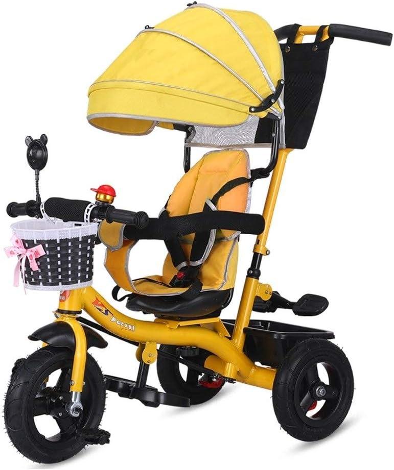 Triciclos Triciclo Niño 4-en-1 Empuje Y Ride Triciclo Del Cochecito Plegable Del ABS De Pedales Con El Pabellón Estribo De Empuje Grow-Head Con Altura Ajustable De Empuje Paseo En Triciclo 5 Colores