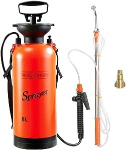 CLICIC 2 Gallon Pressure Sprayer Lawn Yard and Garden Sprayer, with 2 Kinds of Sprinkling Modes, Spray 18 Feet