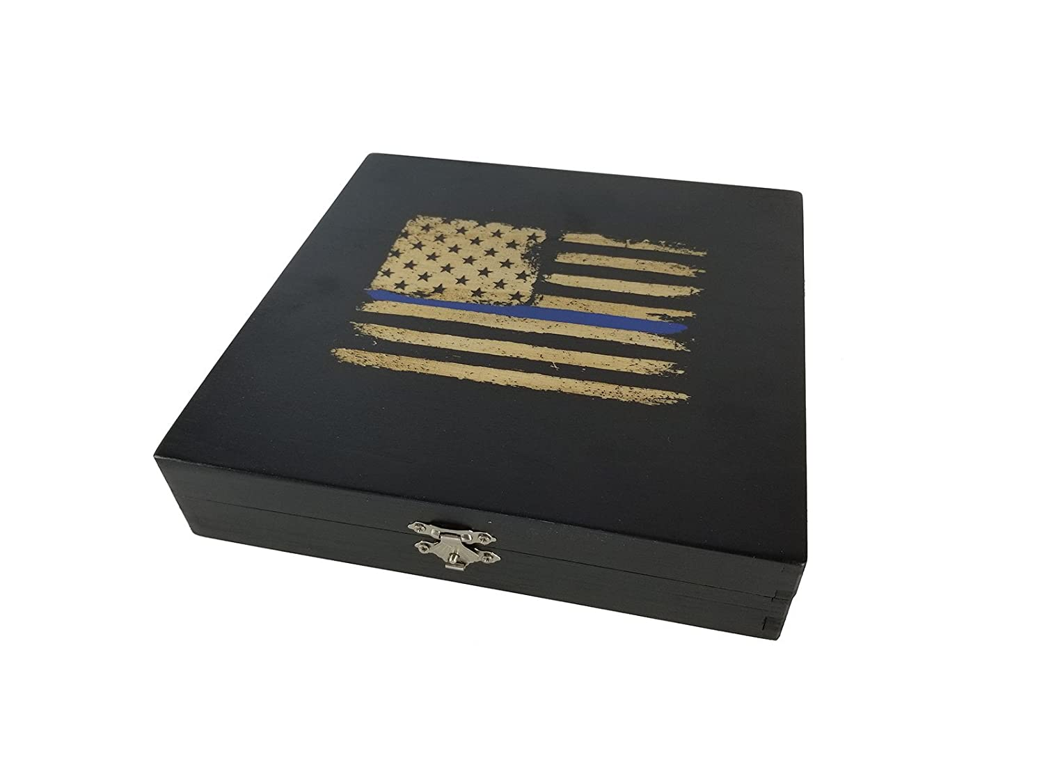 Police Officer Gift - Keepsake Box - American Flag with Thin Blue Line