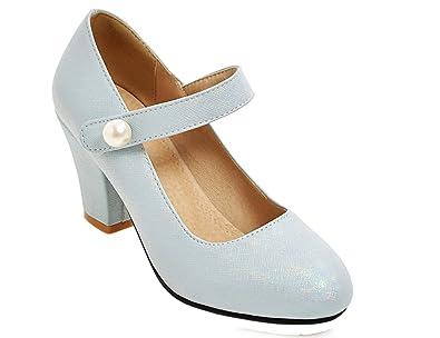 UH Damen Mary Jane PU Leder mit Blockabsatz Pumpen mit Perlen Party School Dating Schuhe