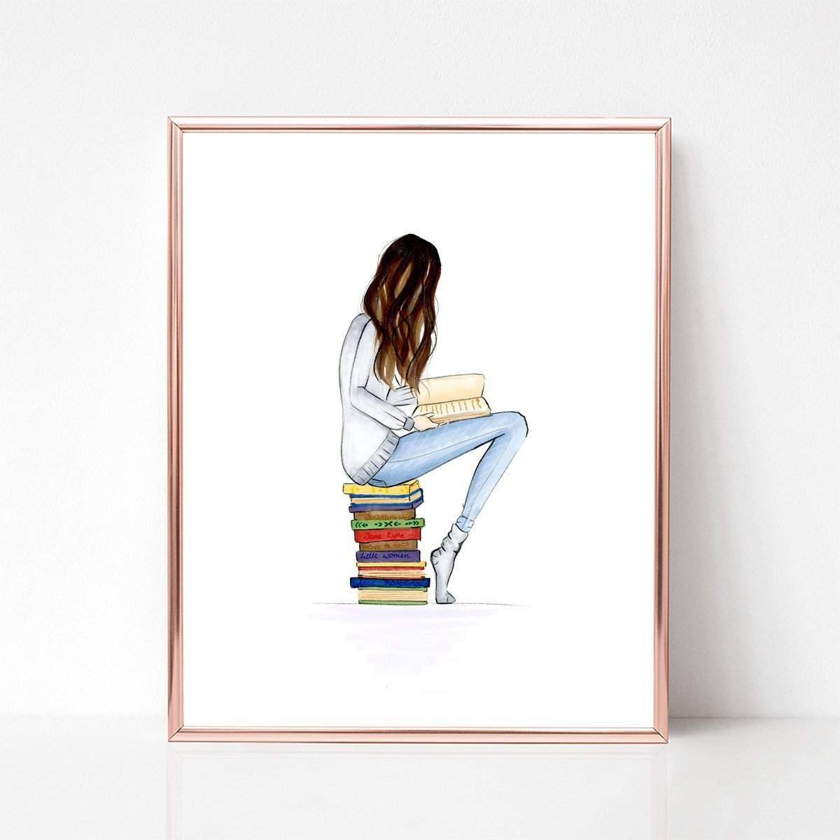 Unframed Brunette Book Worm Fashion Illustration Art Print