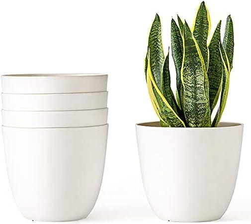 VENBON macetas de plástico para Flores, macetas Modernas Decorativas para jardín con Drenaje, Color Blanco Crema, Paquete de 5, Negro, Crema Claro, M - 6.5
