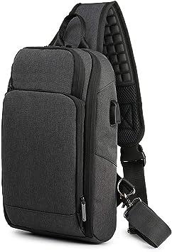 Waterproof Mens Cross Body Bag Casual Daypack with USB Charging Port