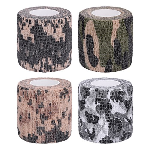 LiangGui 4 Pack Multifunction Self-adhesive Protective Camouflage Tape Wrap for Gun Rifle Shotgun Camping Hunting