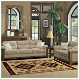 Superior Santa Fe Collection 5' x 8' Area Rug, Attractive Rug with Jute Backing, Durable and Beautiful Woven Structure, Bright and Bold Southwest Style - Ivory