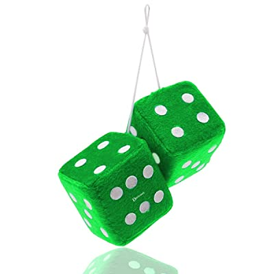 "Zento Deals Pair 3"" Green Hanging Fuzzy Dices with White Dots: Automotive"