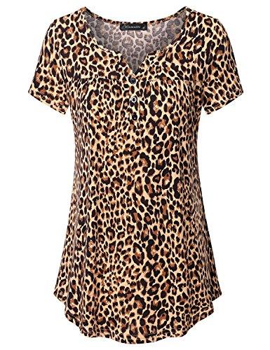 Vinmatto Women's Short Sleeve Henley V Neck Pleated Button Details Tunic Shirt (Leopard Top Shirt)