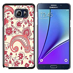 Be-Star Único Patrón Plástico Duro Fundas Cover Cubre Hard Case Cover Para Samsung Galaxy Note5 / N920 ( Motif floral rein Art Wallpaper Violet Rouge )