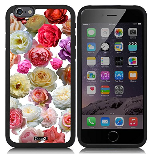 [CocoZ? New Apple iPhone 6 s 4.7-inch Case Beautiful Colorful roses pattern TPU Material Case (Black TPU & Colorful roses] (Dollar Jumbo Glasses)