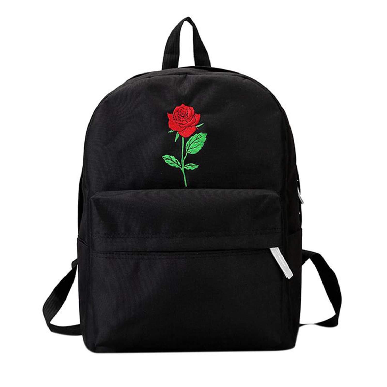 バックパック レディース キャンバス地 バラの花 刺繍 学生 ティーンエイジ 女の子 学校 バックパック 旅行バッグ ブラック リュックサック Onesize Onesize 1 B07H3H27JT