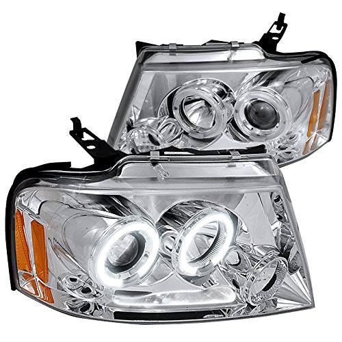 Spec-D Tuning 2LHP-F15004-TM Ford F150 Chrome Clear Led Halo Projector Headlights