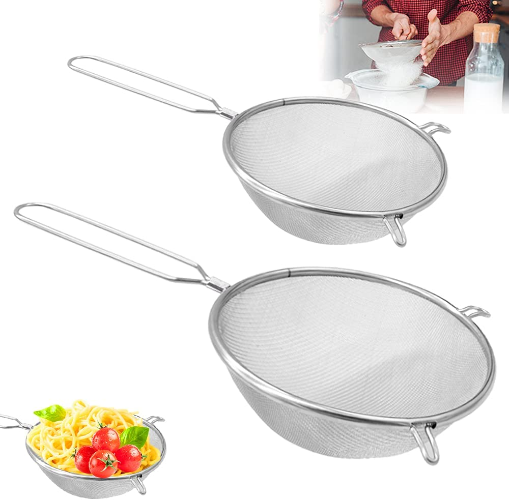 2Pcs Fine Mesh Strainers with Double-Ear,Stainless Steel Kitchen Strainer Food Sieve Filter for Vegetables,Fruits,Pasta,Flour(6 Inch,8 Inch)