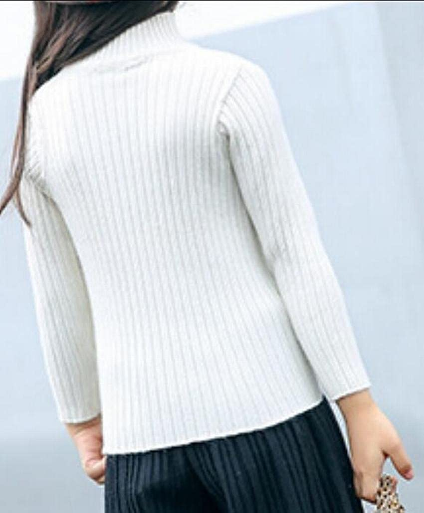 ainr Little Girl Fashion Long Sleeve Turtleneck Knit Sweater