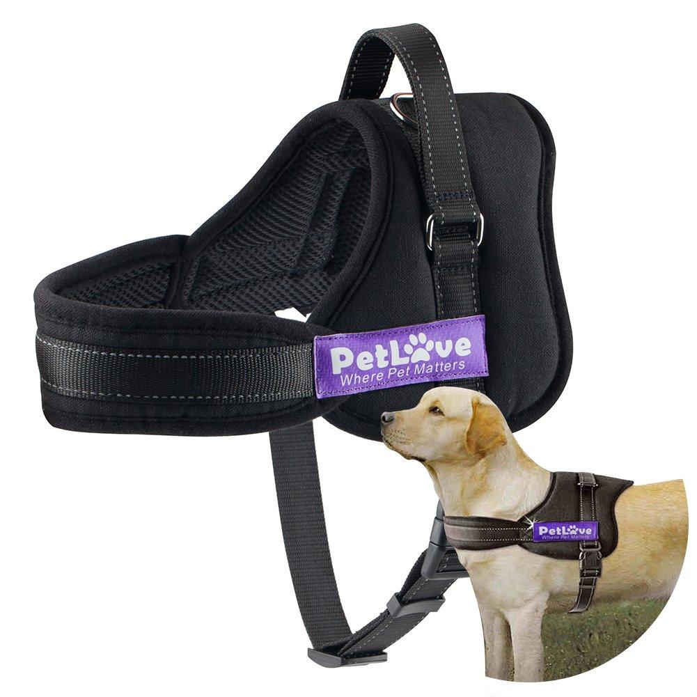 PetLove Dog Harness, Soft Leash Padded No Pull Dog Harness of All Sizes - Black, Medium