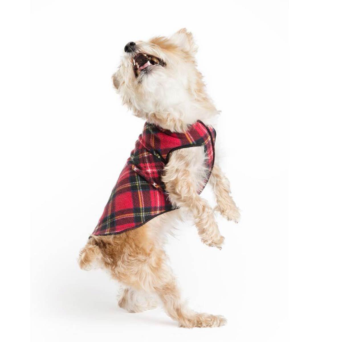 Gold Paw Stretch Blue Fleece Dog Coat - Soft, Warm Dog Clothes, Stretchy Pet Sweater - Machine Washable, Eco Friendly - All Season - Sizes 2-33, Red Classic Plaid, Size 10