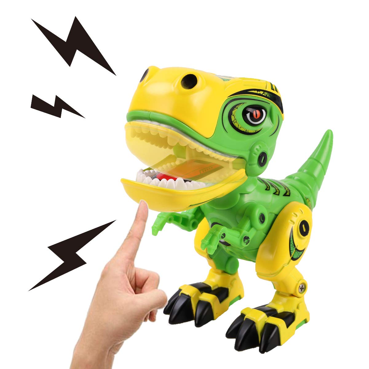 GILOBABY Dinosaur Toys for Kids, Alloy Metal Mini Tyrannosaurus Rex Dinosaur with Shine Eyes and Roaring Sound, Flexible Body, Gift for Toddlers Boys Girls (Green) by GILOBABY (Image #4)