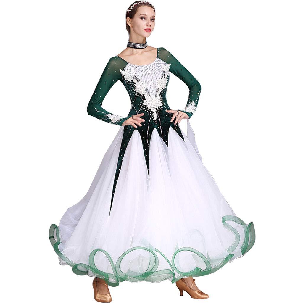 モダンダンススカートビッグスウィングドレス国家標準衣装大人の女性ペチコート B07MZVRY82 XXL|ダークグリーン ダークグリーン XXL