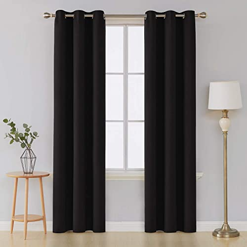 Deconovo Grommet Thermal Insulated Curtains Room Darkening Blackout Curtains Window Panels Width 42 Inch by Length 95 Inch Black Two Curtain Panels