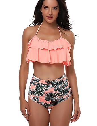 721c22e50a64a KamiraCoco Femme Bikini 2 Pieces Tankini AVCE Shorty Haut Rouge Volant  Maillot de Bain Shorty Taille