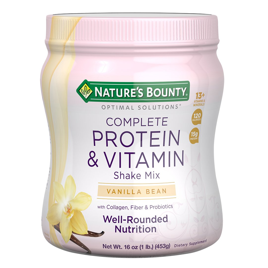 Nature's Bounty Optimal Solutions Protein Powder and Vitamin Supplement, Vanilla Bean, 1 lb by Nature's Bounty