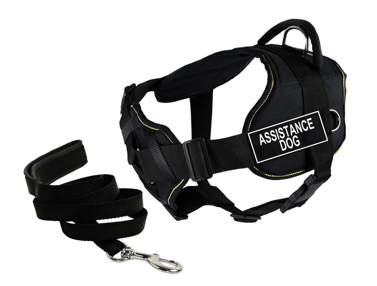 Dean & Tyler's DT Fun Chest Support Assistance Dog  Harness, Small, with 6 ft Padded Puppy Leash.
