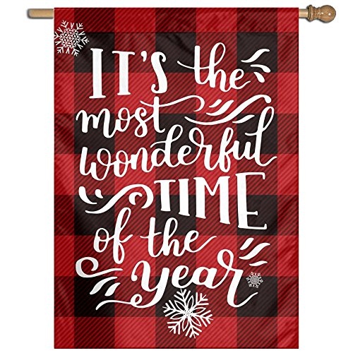 A Little Buffalo Plaid And Christmas Cheer Garden Flag House Banner Gifts Nativity Decorative Flag For Party Yard Home Outdoor Decor Be Merry (Christmas 2017 Stations Radio Music)
