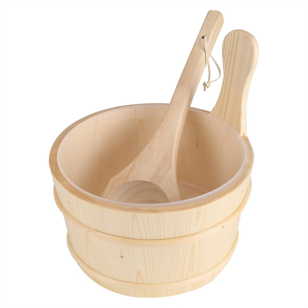 Mumusuki Sauna SPA Wooden Bucket and Ladle Set Bathroom Natural Bath Accessories Hot Tubs Supplies by Mumusuki