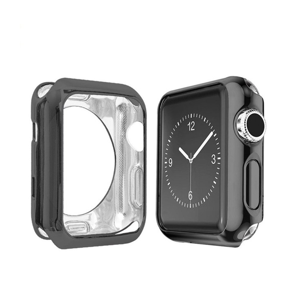 GerTong Apple Watch Case 42mm Slim Soft TPU Full Cover Case for Apple Watch Series 3/2/1/Nike+ Sport Edition 42mm (Black) by GerTong (Image #1)