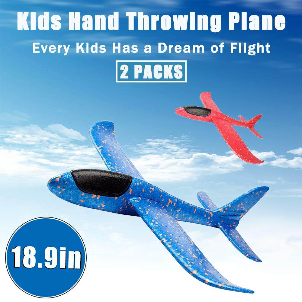 CYKT Toys Gifts for 3-12 Year Old Boys, 18.9inch Large Throwing Foam Plane(2 Pack), Flying Aircraft,Flying Gliders, Fun, challenging, Outdoor Sport Game Toys, Birthday Party Favors. by CYKT