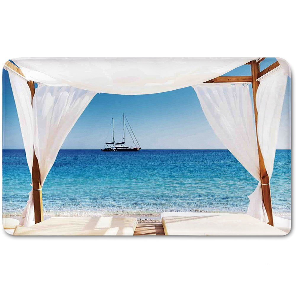 Memory Foam Bath Mat,Balinese Decor,Beach through A Balinese Bed Summer Sunshine Clear Sky Honeymoon Natural Spa PicturePlush Wanderlust Bathroom Decor Mat Rug Carpet with Anti-Slip Backing,Blue Whit