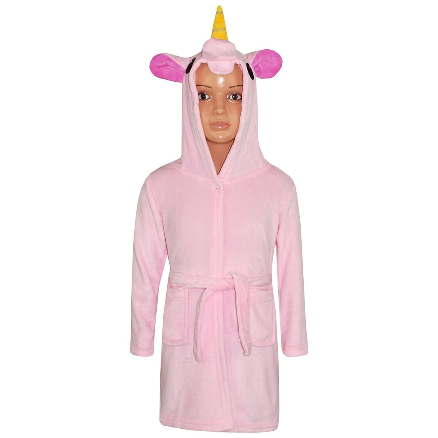 Amazon.com: Girls Bathrobe 3D Animal Unicorn Baby Pink Dressing Gown Fleece Night Loungewear: Clothing