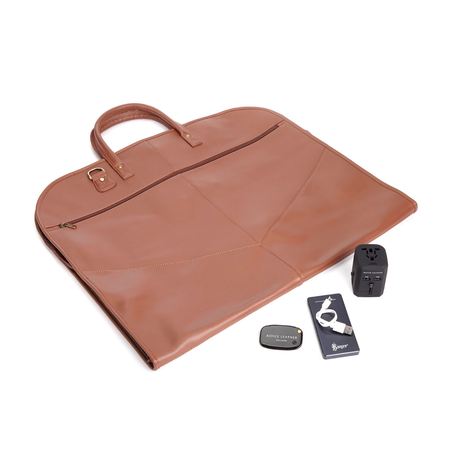 ROYCE Luxury Travel Set: Garment Bag with Bluetooth-based Tracking Device for Locating Luggage, Portable Power Bank and International Adapter - Tan by Royce Leather (Image #1)