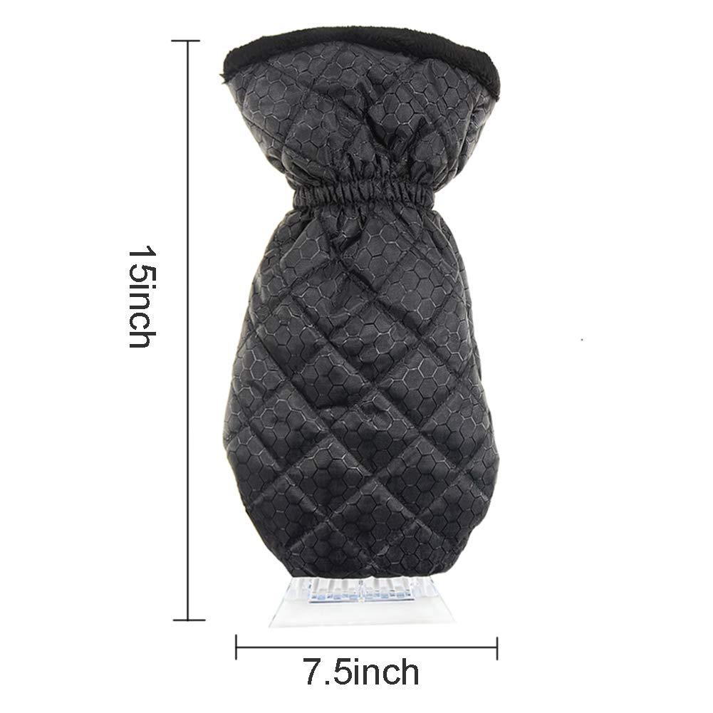 Ice Scraper Mitt Windshield Snow Scrapers with Waterproof Snow Remover Glove Lined of Thick Fleece Black
