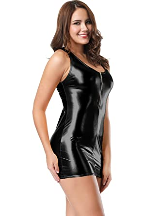 a9179129a LVYI Women Sleeveless Shiny Metallic Wetlook Clubwear Stripper Mini Dress  Outfits with Zipper (Black): Amazon.co.uk: Clothing