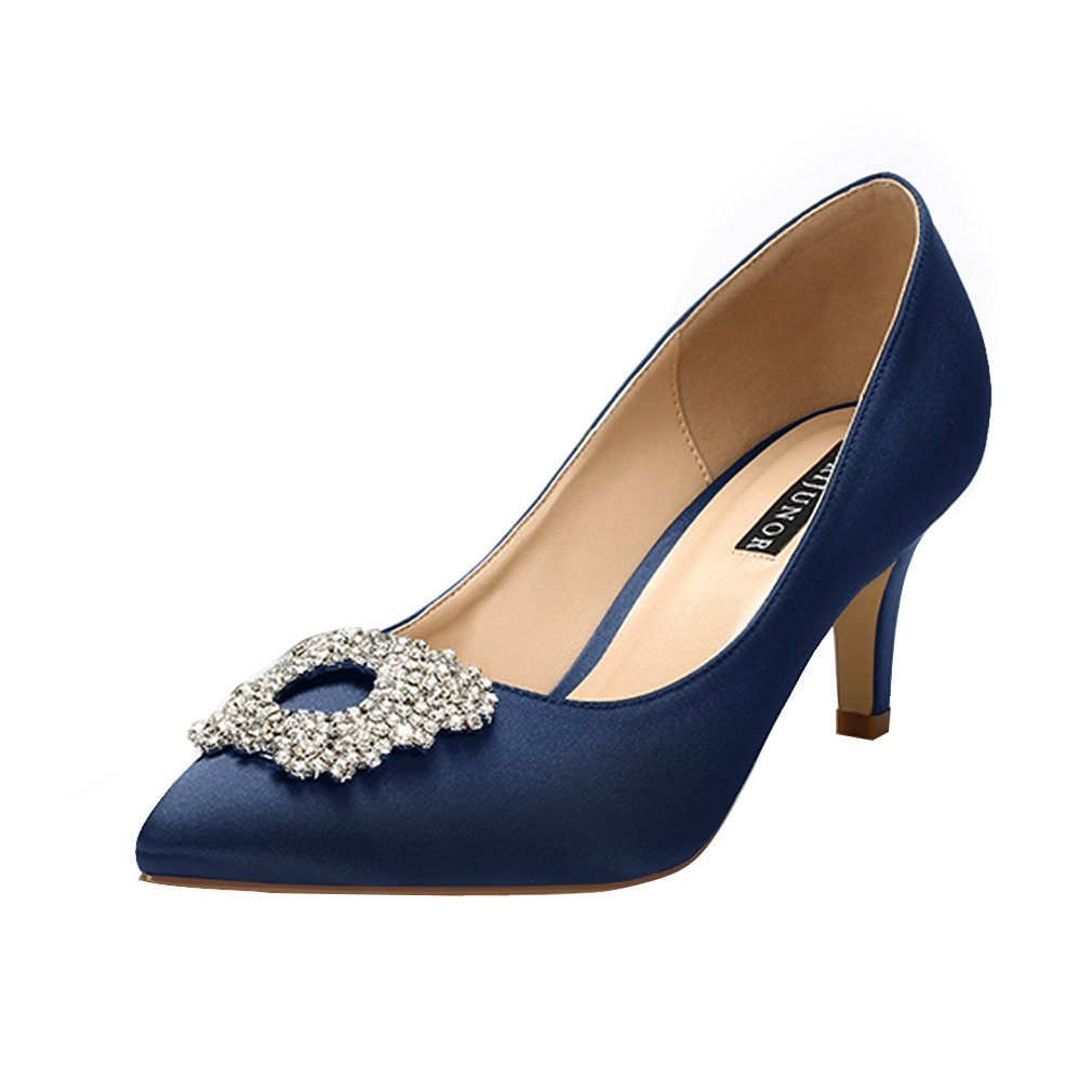 ERIJUNOR E1604 Women Pumps Low Heel Rhinestone Brooch Satin Evening Dress Wedding Shoes Navy Blue 11