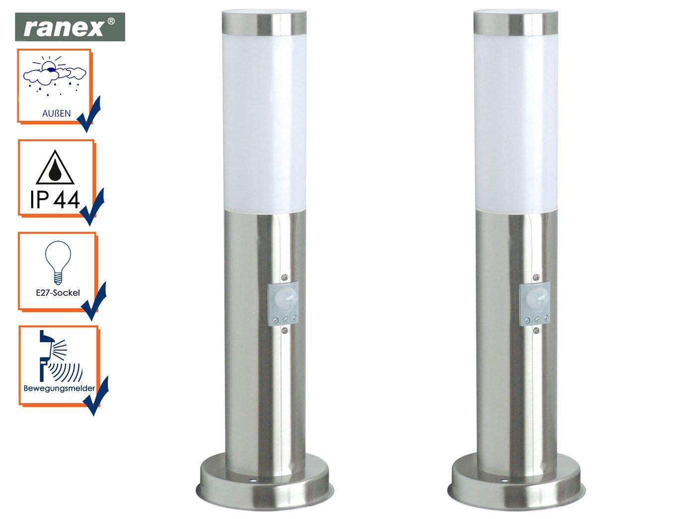 Socket de 2 unidades Leuchten con detector de movimiento, altura 45 cm, faroles exteriores, RANEX: Amazon.es: Iluminación