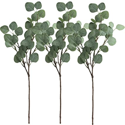 supla 3 pcs artificial silver dollar eucalyptus leaf spray in green 255 tall artificial greenery - Christmas Greenery Wholesale