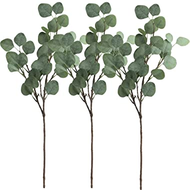 Supla 3 Pcs Artificial Silver Dollar Eucalyptus Leaf Spray in Green 25.5  Tall Artificial Greenery Holiday Greens Christmas greenery