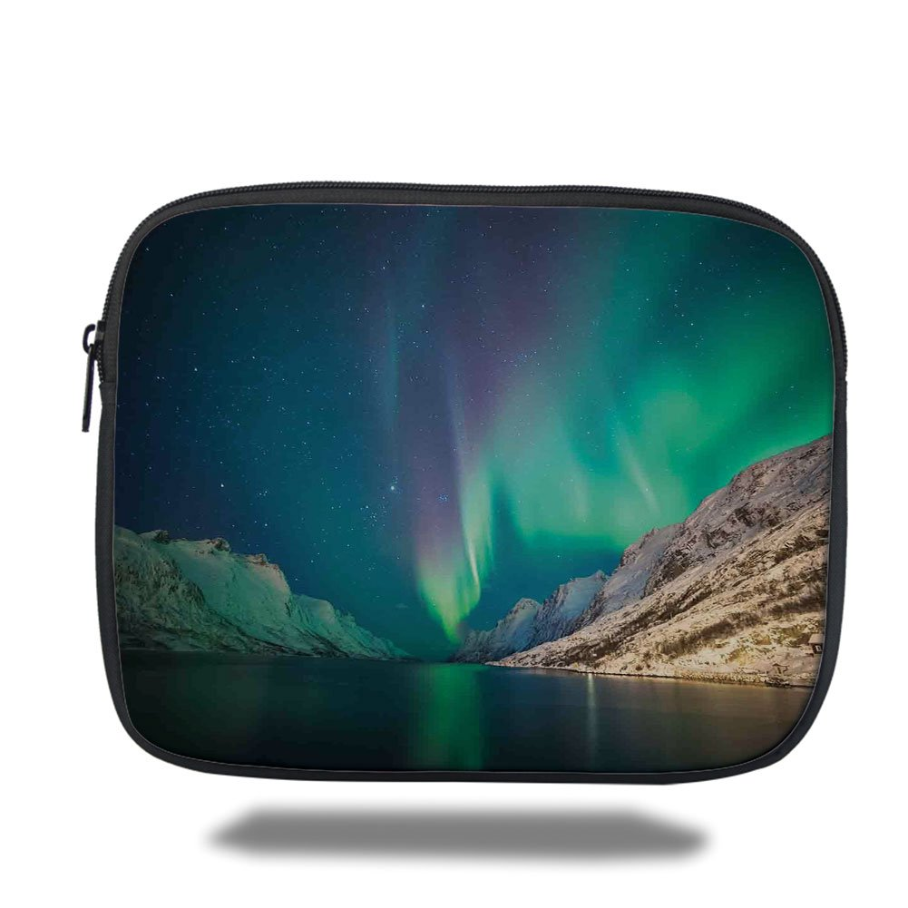 Laptop Sleeve Case,Nature Decor,Mystical Northern Lights above Rocky Hills Magnetic Poles Solar Space Panorama,Jade Green,iPad Bag