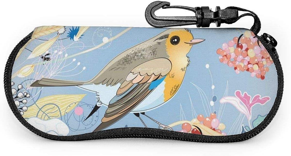 Fondo floral con un pájaro Gafas de sol Estuche blando ...