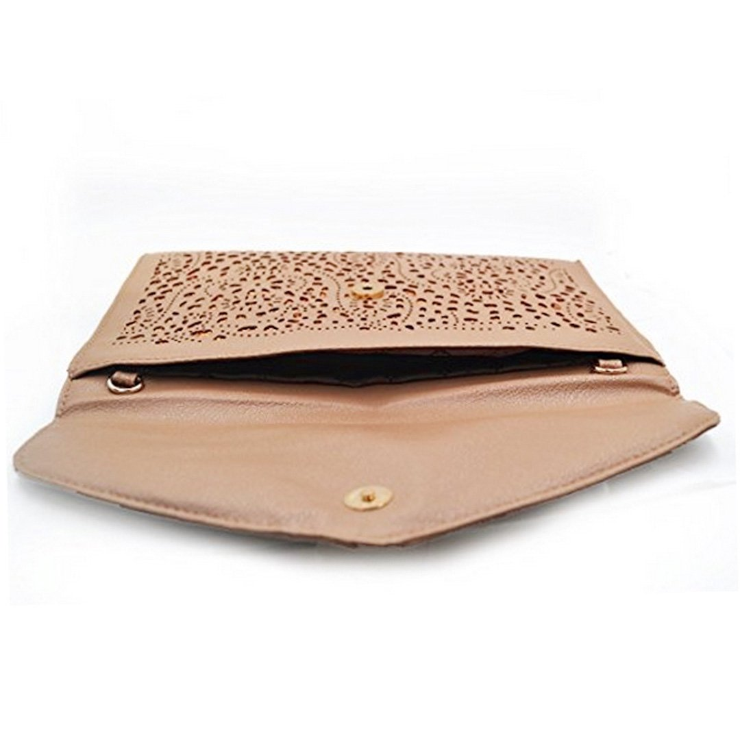 Mily Hollow Out Flower Envelop Clutch Chain Tote Shoulder Bag Handbag Beige by Mily (Image #4)