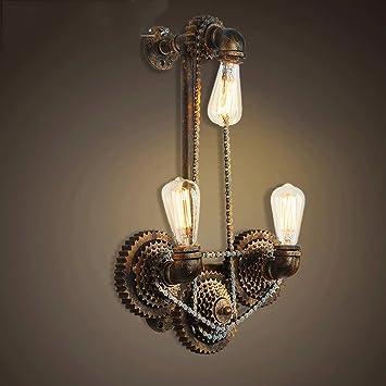 XUEYAN XY-S Viento Industrial Nostalgia Retro lámpara de Pared de Tres Tubos Personalidad Creativa Barra de Hierro Engranaje Cadena de la Bicicleta de ...
