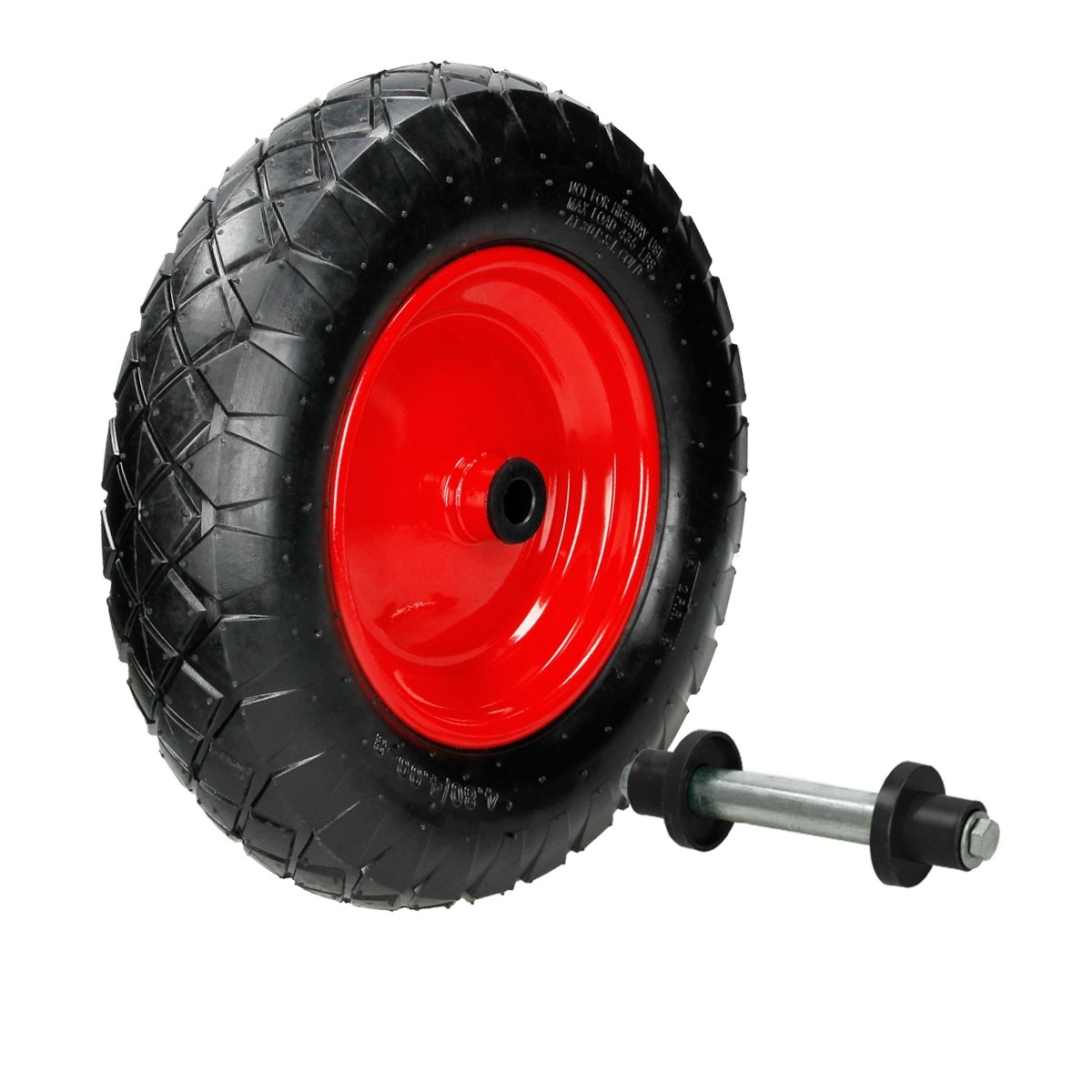 ECD Germany Wheelbarrow Wheel with Axle 4, 80/4, 00-8 Inflatable Tire Car Whee Max. Load 200 kg Heavy Duty Rubber Ø 390 Wheel Diamter 00-8 Inflatable Tire Car Whee Max. Load 200 kg Heavy Duty Rubber Ø390 Wheel Diamter