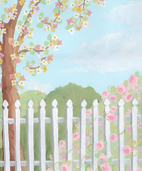 Scenic Photography Backdrops Spring Easter White Picket Fence Vinyl Photo Background Kids Children Baby 5x5