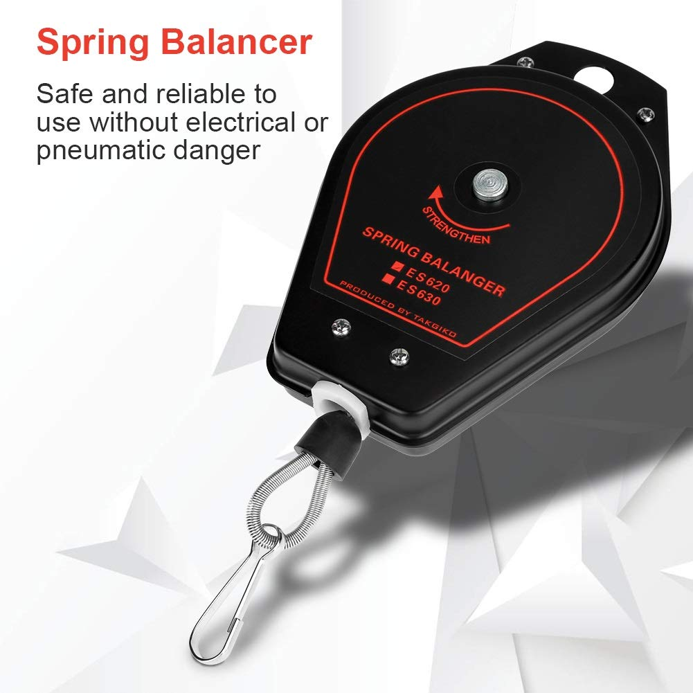 Spring Balancer Tool Retractable Tool Holder Hanger Capacity 0.6~2.0kg ES620 Nuevo Spring Balancer Negro