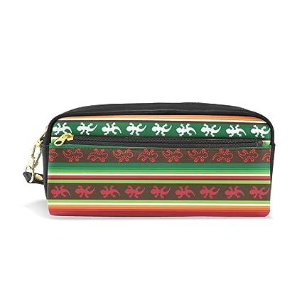 ALAZA Caja de la pluma lápiz verde raya roja mexicana ...